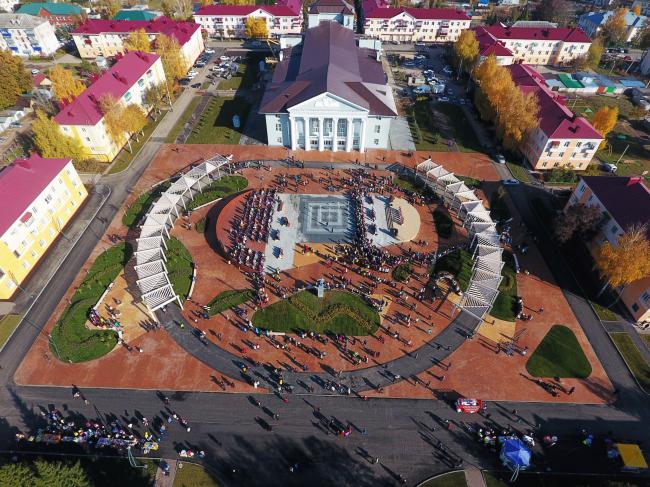 Развитие общественных пространств Республики Татарстан. Вид сверху на Центральную площадь, Бавлы