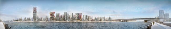 Архитектурно-градостроительная концепция строительства МФК на территории западной части Нагатинской поймы. Панорама 2 с южной стороны Нагатинской набережной. Конкурсный проект, 2014