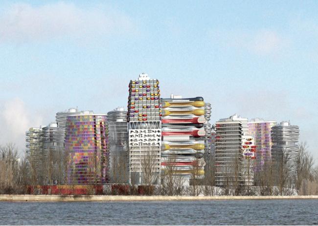 Архитектурно-градостроительная концепция строительства МФК на территории западной части Нагатинской поймы. Вид на квартал со стороны юго-западной части набережной. Конкурсный проект, 2014