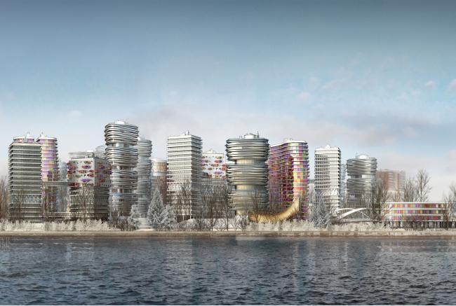Архитектурно-градостроительная концепция строительства МФК на территории западной части Нагатинской поймы. Вид на квартал с южной стороны Нагатинской поймы. Конкурсный проект, 2014