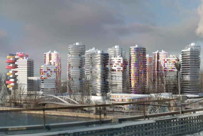 Архитектурно-градостроительная концепция строительства МФК на территории западной части Нагатинской поймы. Вид со стороны Нагатинского моста Конкурсный проект, 2014
