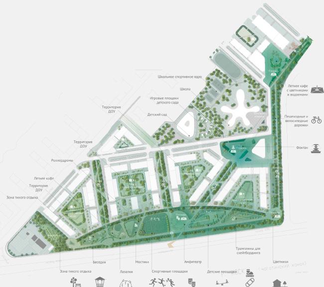 Архитектурно-градостроительная концепция строительства МФК на территории западной части Нагатинской поймы. Схема благоустройства территории. Конкурсный проект, 2016