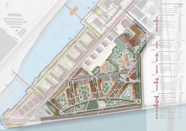 Архитектурно-градостроительная концепция строительства МФК на территории западной части Нагатинской поймы. Генплан. Конкурсный проект, 2016