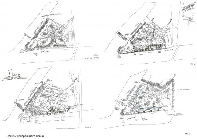 Эскизы генплана. Архитектурно-градостроительная концепция строительства МФК на территории западной части Нагатинской поймы. Конкурсный проект, 2014