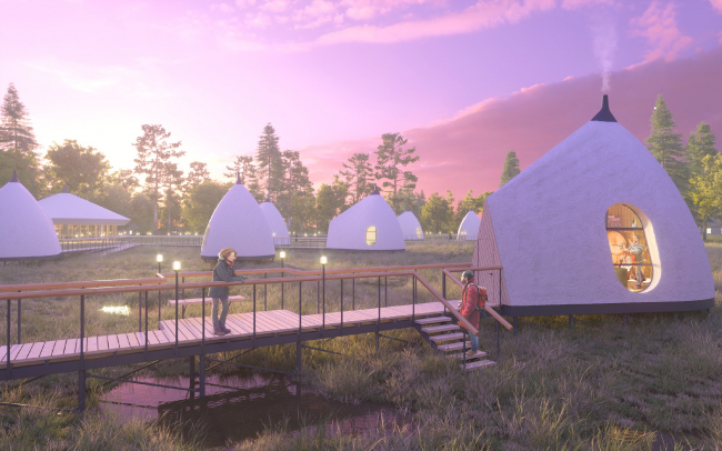 Concept of a tourist cluster in the settlement of Oymyakon. Camping area