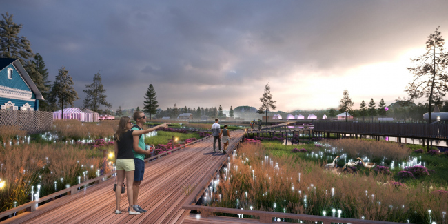 Concept of a tourist cluster in the settlement of Oymyakon. Park