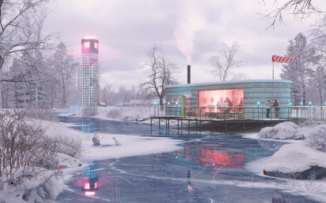 Concept of a tourist cluster in the settlement of Oymyakon. Restaurant