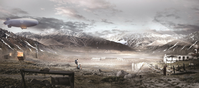 Concept of a tourist cluster in the settlement of Oymyakon. The former GULAG forced labor camp