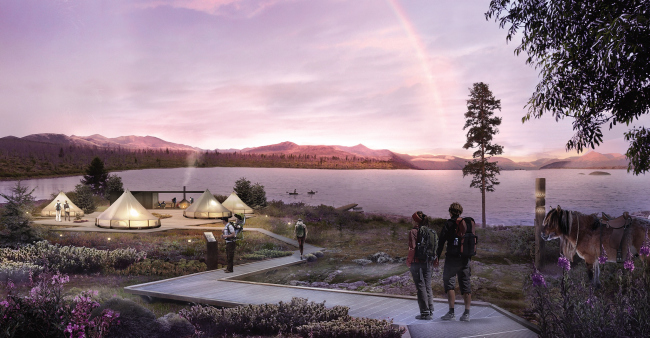 Concept of a tourist cluster in the settlement of Oymyakon. The Labynkyr Lake