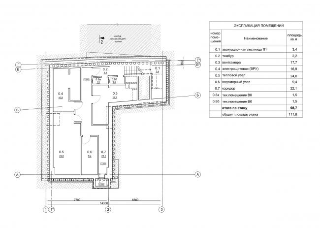 Мастерская З.К. Церетели. План -1 этажа
