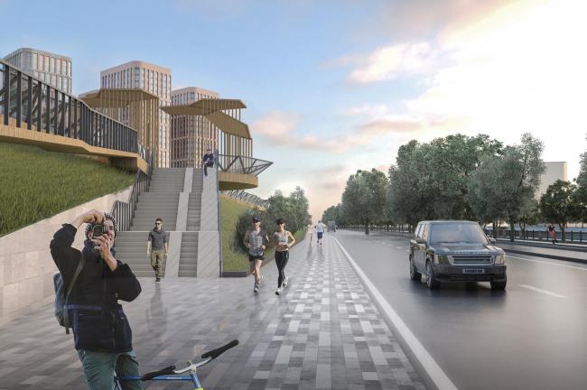 Архитектурно-градостроительная концепция строительства МФК на территории западной части Нагатинской поймы. Вид с набережной на подъем в парк. Архсовет, 2017