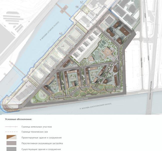 Архитектурно-градостроительная концепция строительства МФК на территории западной части Нагатинской поймы. Схема генплана. Архсовет, 2017