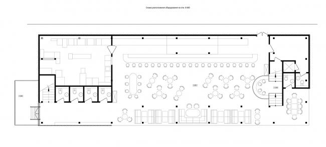 Плавучий ресторан на набережной реки Дон. План 1 этажа