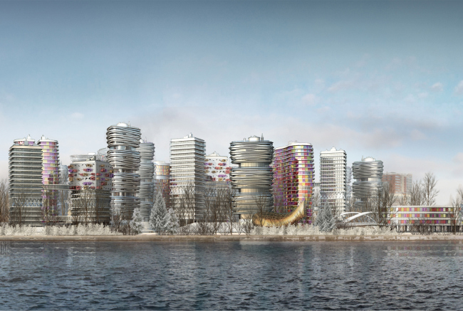Architectural and town-planning concept of the mixed-use development in the western part of the Nagatinskaya Poima. Competition project, 2014
