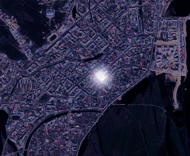 Расположение площади Ленина в Якутске