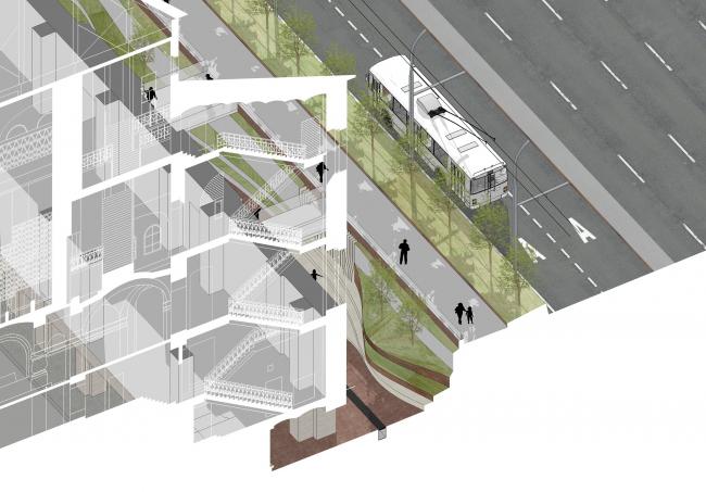 «Музейный парк». Благоустройство пешеходной зоны и территории, прилегающей к Политехническому музею. Разрез с тратуаром