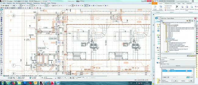 Структурированная карта видов и отображение плана проекта здания Усть-Джегутинской МГЭС в ARCHICAD