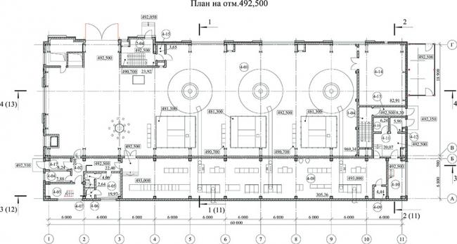 Отображение плана на отм. 492,500 проекта Зарагижской МГЭС в ARCHICAD