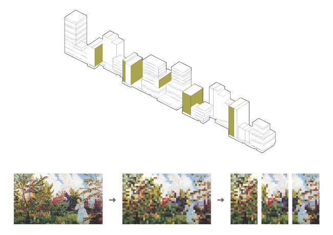 Жилой комплекс «Бунин» в Воронеже. Изображения на «обложках книг», схема расположения пиксельных фасадов