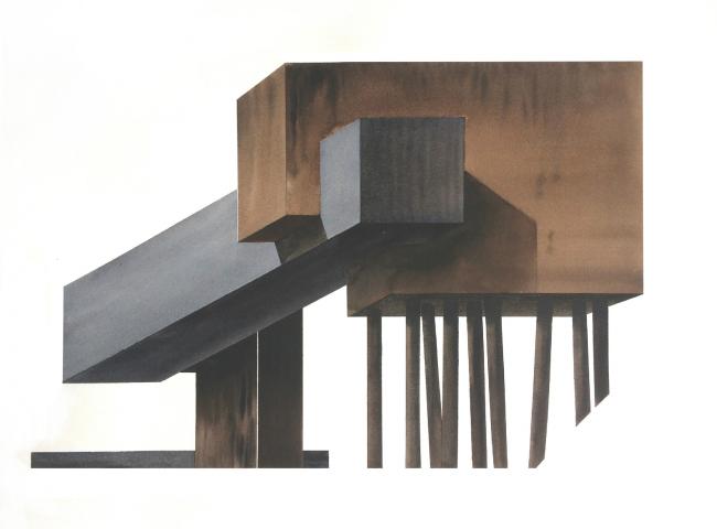 Архискульптура. Бумага, акварель, тушь. 2018
