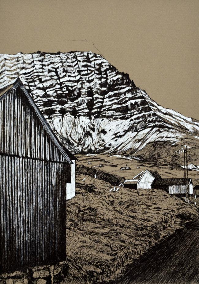 Фарерские острова. Бумага, ручка, пастель. 2019