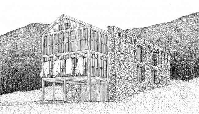 Вилла Бакуриани. Архитектура и интерьер. Бумага, карандаш, тушь, перо. 2018