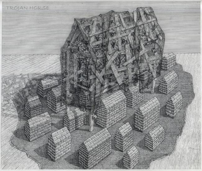 Примитивные конструкты. Бумага, тушь. 2004