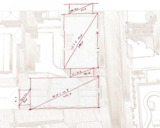 Схема взаимного расположениия объемов. ЖК Дом Бакст, проект