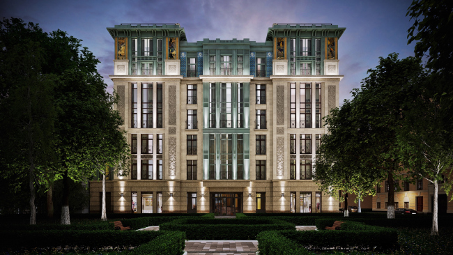 South facade. Bakst Residential Complex, project