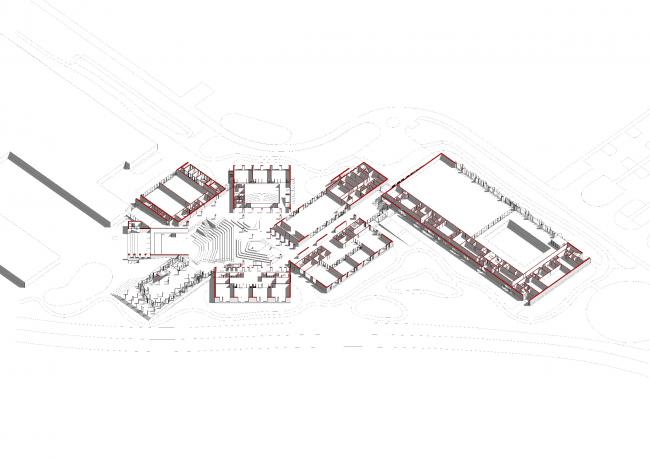 E.M. Primakov Gymnasium, 2nd stage. The axonometric drawing