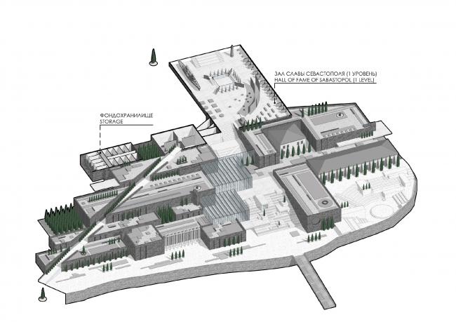 Аксонометрический план на отметке 13.00. Музейно-образовательный комплекс и музей славы Севастополя