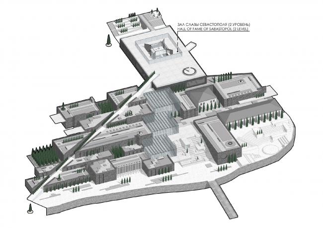 Аксонометрический план на отметке 20.00. Музейно-образовательный комплекс и музей славы Севастополя