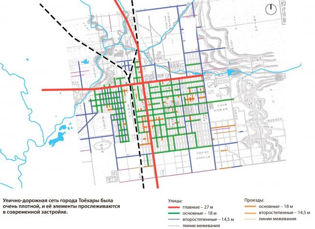 Сохранившиеся улицы и проезды периода г. Тоёхары Южно-Сахалинск концепция пространственного развития города.