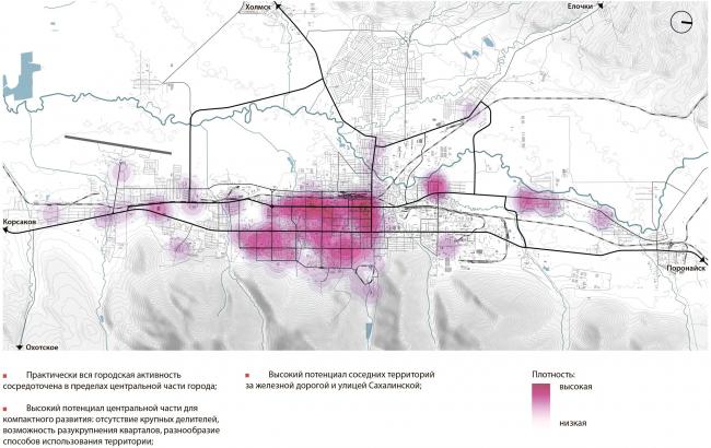 Плотность функций Южно-Сахалинск концепция пространственного развития города.
