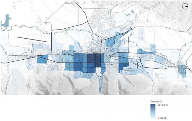 Плотность мест приложения труда: существующие положение. Южно-Сахалинск концепция пространственного развития города.
