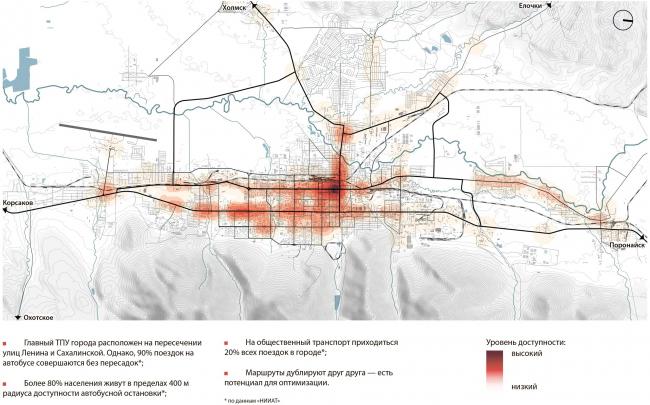 Уровень доступности территории на общественном транспорте Южно-Сахалинск концепция пространственного развития города.