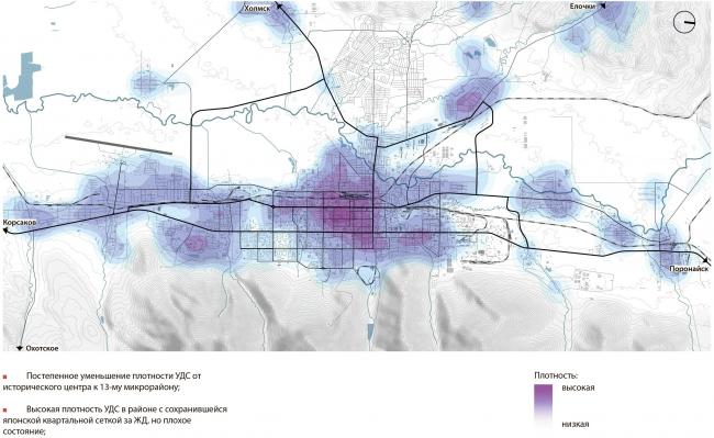 Плотность улично-дорожной сети Южно-Сахалинск концепция пространственного развития города.