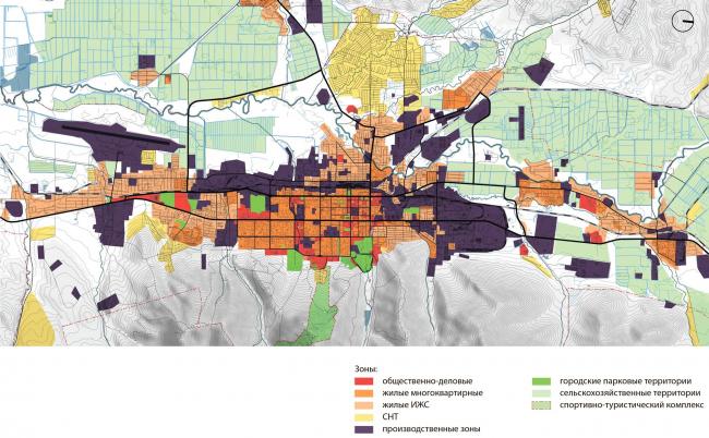 функциональное зонирование: существующие положение. Южно-Сахалинск концепция пространственного развития города.