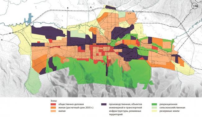 Принципиальная схема генерального плана 2013г. в части функционального зонирования Южно-Сахалинск концепция пространственного развития города.
