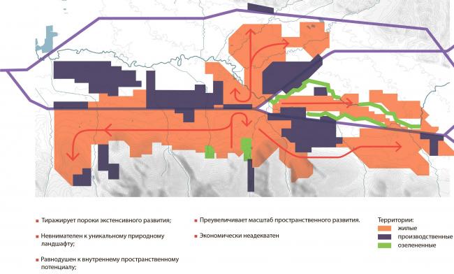 Принципиальная схема генерального плана 2013г. в части функционального зонирования. Южно-Сахалинск концепция пространственного развития города.