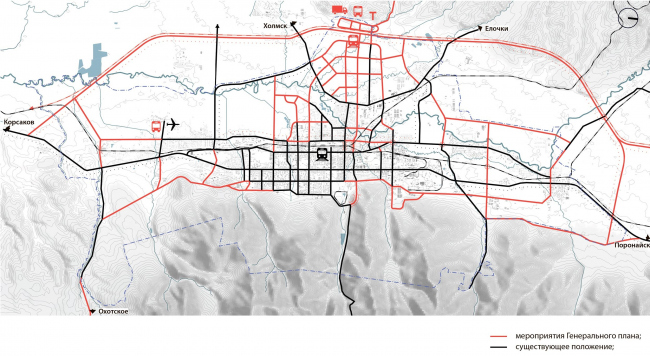 Принципиальная схема генерального плана в части транспортной инфраструктуры Южно-Сахалинск концепция пространственного развития города.