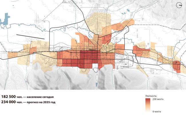 Плотность населения: прогноз на 2035 г. Южно-Сахалинск концепция пространственного развития города.