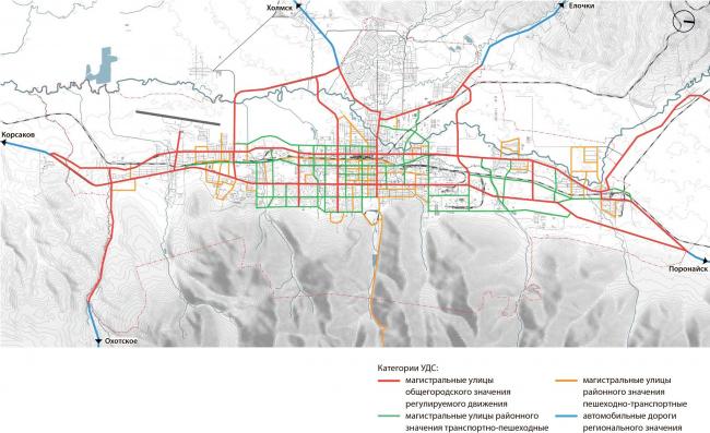 Транспортная схема: проектное предложение Южно-Сахалинск концепция пространственного развития города.