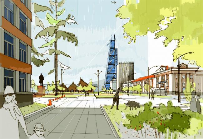 Вид с Коммунистического проспекта Южно-Сахалинск концепция пространственного развития города.