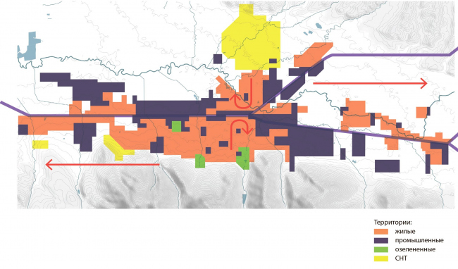 Принципиальная схема:существующие положение Южно-Сахалинск концепция пространственного развития города.