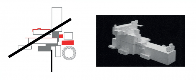 Left: the suprematist composition on the theme of the project. Right: Malevich′s Architecton
