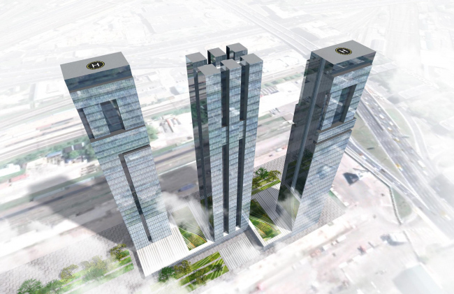Version 1. The sketch project of RZD skyscrapers