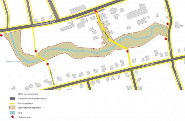 Транспортно-пешеходная схема. Набережная реки Тюлячка