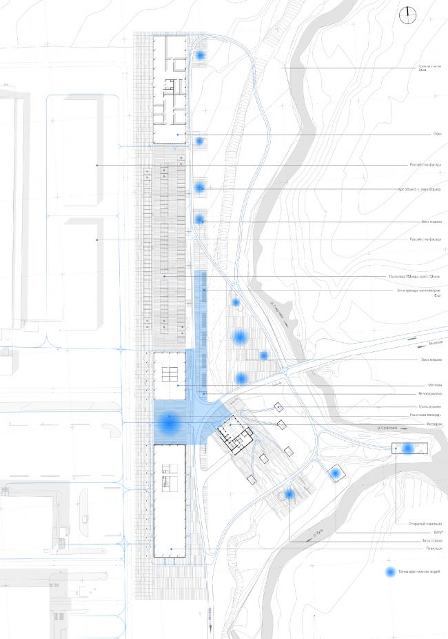 Схема пешеходных потоков. Проект развития территории Мытищинской Ярмарки