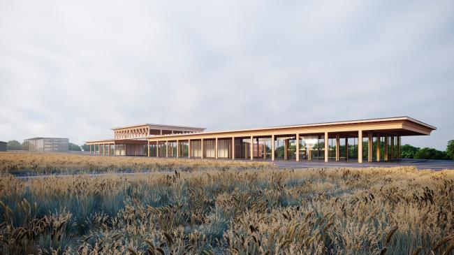 Вид на Выставочный павильон. Проект развития территории Мытищинской Ярмарки